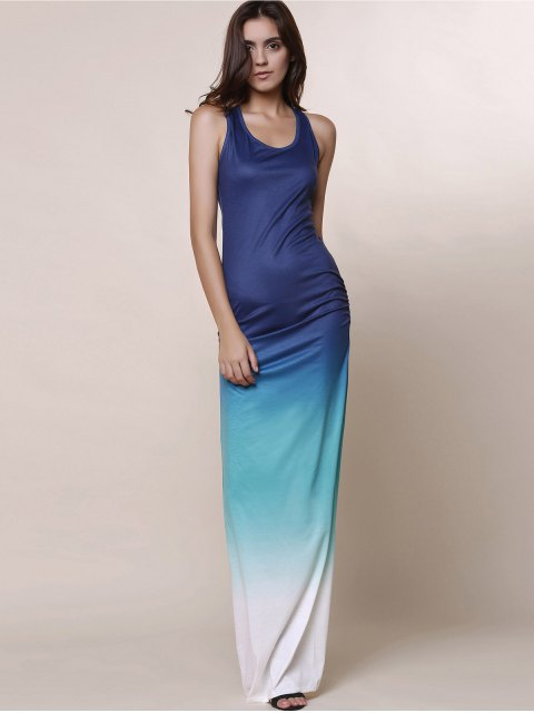 online Ombre Color Scoop Neck Maxi Sundress - BLUE L Mobile