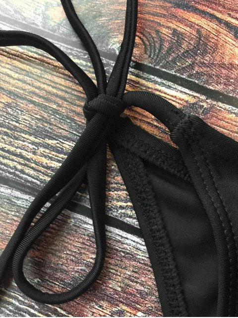 sale Lace-Up Crossover Bikini Set - BLACK M Mobile