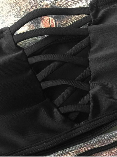 affordable Lace-Up Crossover Bikini Set - BLACK S Mobile