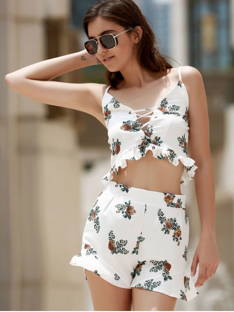 women Floral Print Cami Open Back Maxi Dress - COLORMIX L Mobile