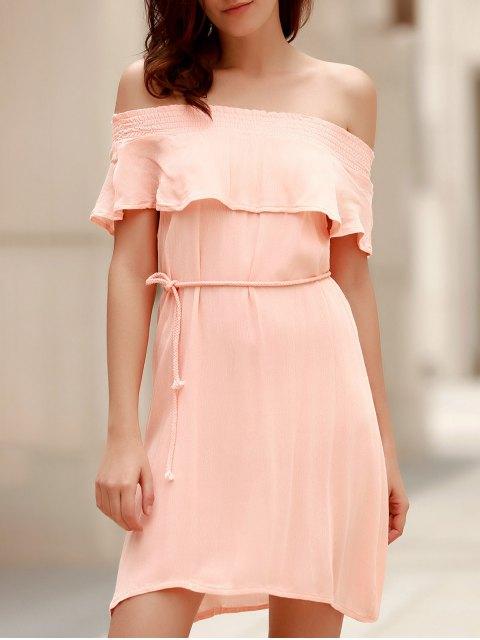 hot Off-The-Shoulder Belted Pink Dress - LIGHT PINK L Mobile