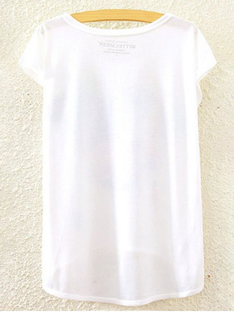 women's Printed Round Collar Short Sleeve Loose Fitting T-Shirt - WHITE ONE SIZE(FIT SIZE XS TO M) Mobile