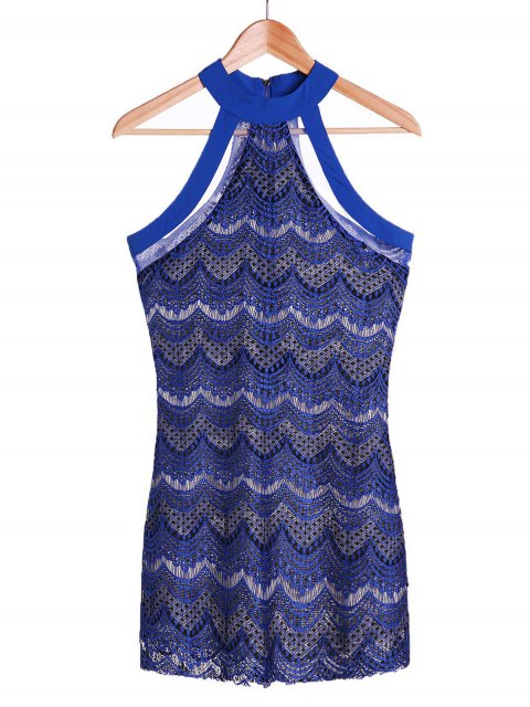 outfit Bodycon Scalloped Lace Dress - SAPPHIRE BLUE M Mobile