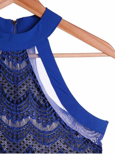 shop Bodycon Scalloped Lace Dress - SAPPHIRE BLUE L Mobile