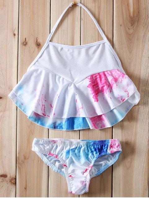 new Halter Ruffles Tie Dye Bikini - WHITE S Mobile