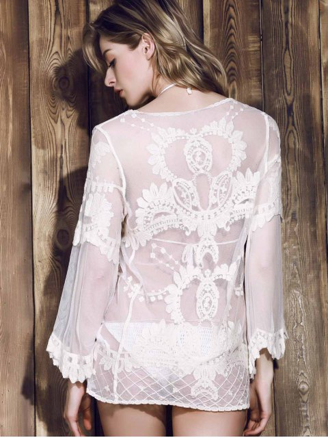 affordable Long Sleeve Sheer Lace Cover Up - OFF-WHITE ONE SIZE(FIT SIZE XS TO M) Mobile