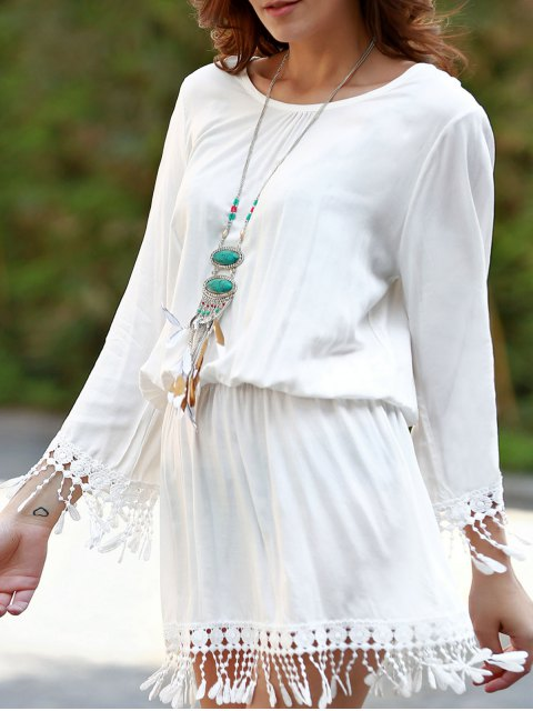 buy Beach Blouson Dress Cover Up - WHITE ONE SIZE(FIT SIZE XS TO M) Mobile