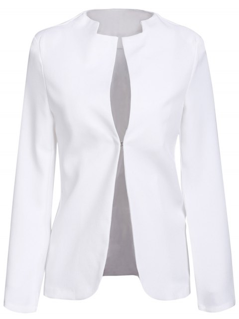 outfits Notched Solid Color Long Sleeve Blazer - WHITE XL Mobile
