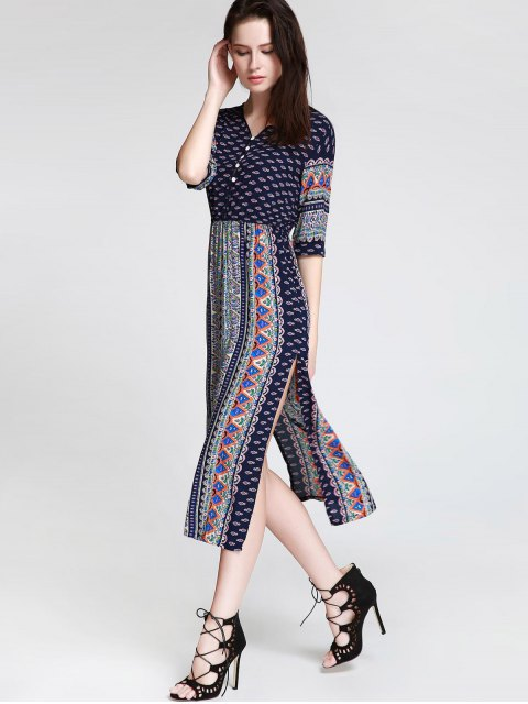 ladies Tea Length Printed Side Slit Dress - BLUE S Mobile