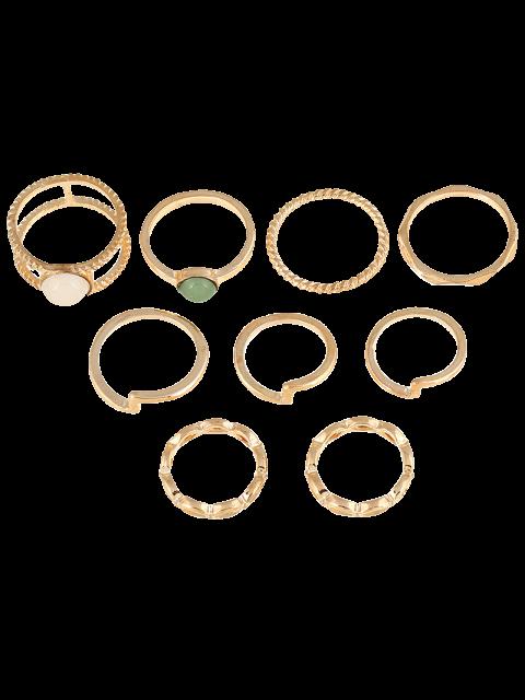 new 9 PCS Gold Plated Fake Gemstone Rings - GOLDEN  Mobile