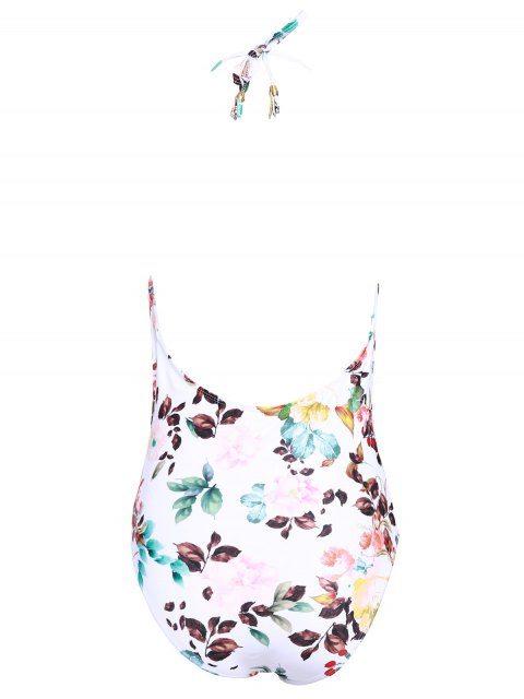 latest Plunging Neck Floral Print Thong Swimsuit - WHITE M Mobile