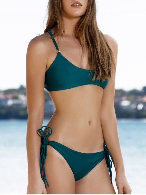 fancy Spaghetti Strap Tassels Green Bikini - GREEN M Mobile
