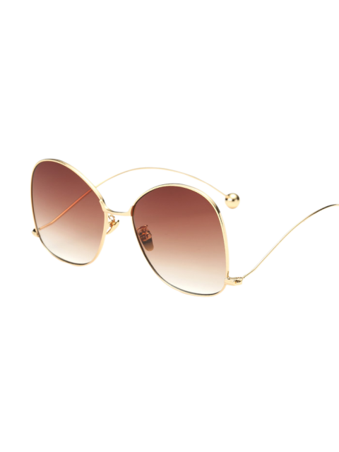 women Small Ball Wave Leg Irregular Sunglasses - GOLDEN  Mobile