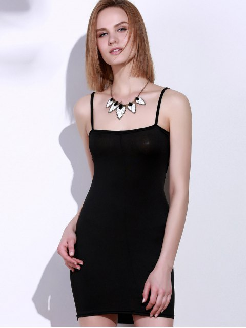 latest Spaghetti Strap Cut Out Mini Bodycon Dress - BLACK XL Mobile
