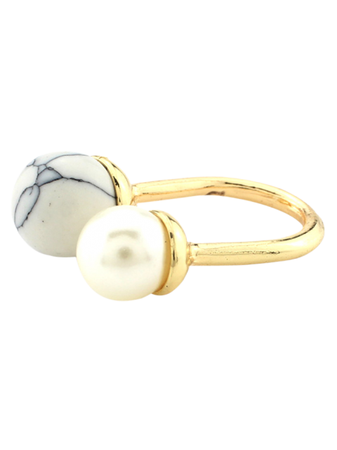 chic Faux Pearl Bead Ring - WHITE  Mobile