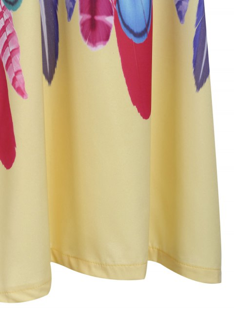 latest Feather Print Cami Dress - YELLOW L Mobile