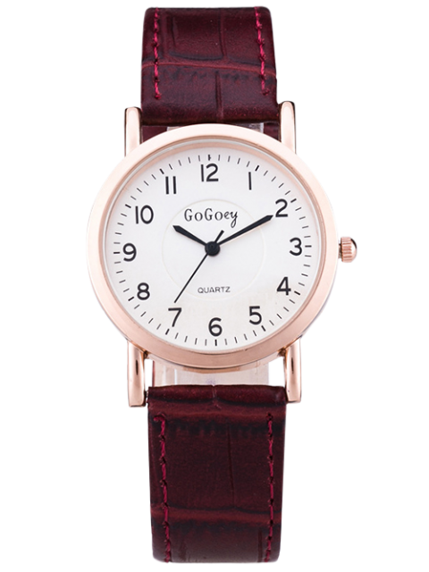 women PU Leather Casual Quartz Watch - BROWN  Mobile