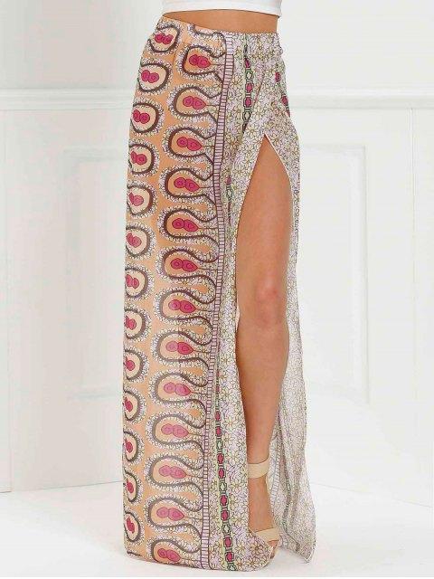 Jupe longue imprimée embellie fente haute à taille haute - ROSE PÂLE L Mobile