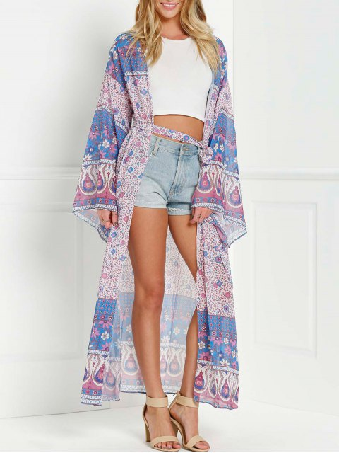 best Wrap Tie Printed Kimono Blouse - PURPLE ONE SIZE(FIT SIZE XS TO M) Mobile