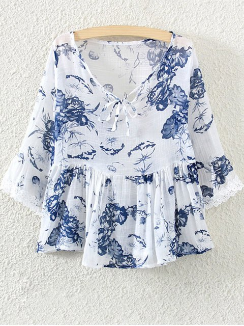 online Lace Insert Floral Skirted Blouse - WHITE ONE SIZE(FIT SIZE XS TO M) Mobile