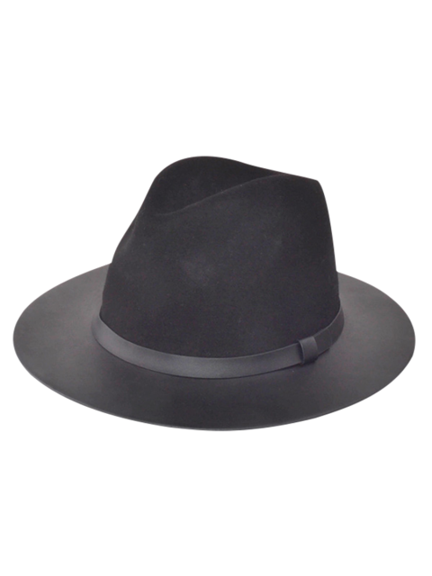 affordable Winter Larger Brimmed Fedora Bowler Hat - BLACK  Mobile
