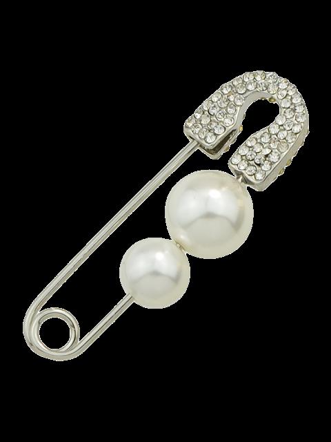 trendy ONE PIECE Faux Pearl Rhinestone Pin Earring - SILVER  Mobile