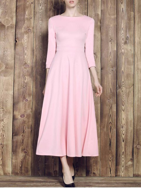 unique Fit and Flare Maxi Dress - PINK M Mobile