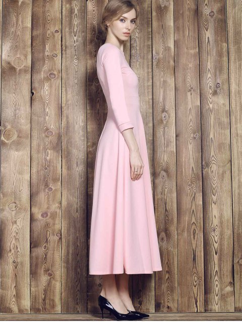 sale Fit and Flare Maxi Dress - PINK L Mobile