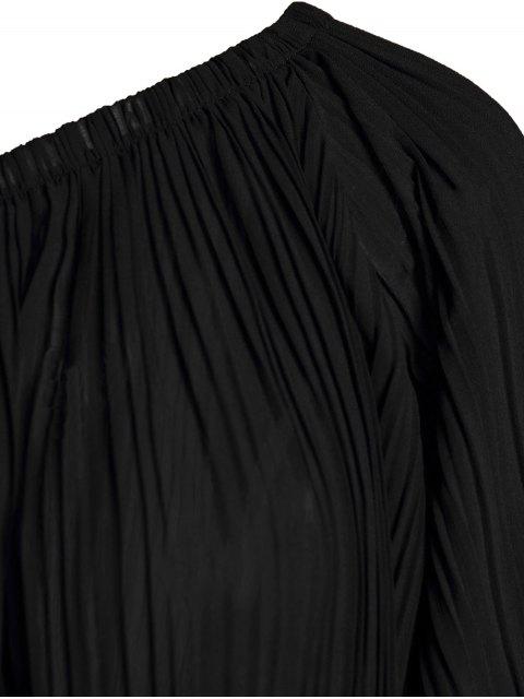ladies Black Chiffon Oblique Shoulder Long Sleeve Dress - BLACK XL Mobile