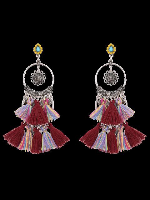 womens Sunflower Tassel Round Drop Earrings - BURGUNDY  Mobile