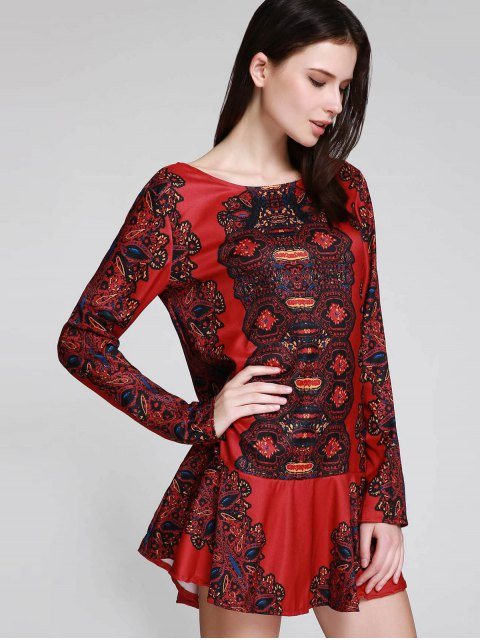 ladies Long Sleeve Printed Tunic Dress - RED S Mobile
