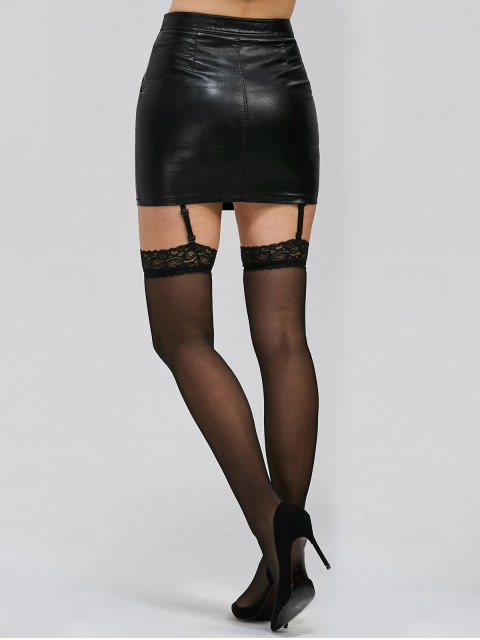 online Lace Insert See Thru Over Knee Garter - BLACK ONE SIZE Mobile