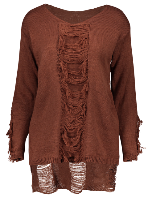 online Ripped High-Low Sweater - COFFEE ONE SIZE Mobile