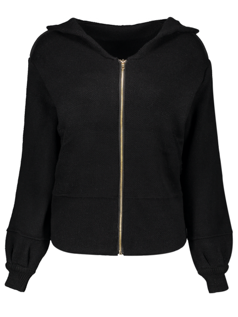 lady Zippered Hooded Cardigan - BLACK ONE SIZE Mobile