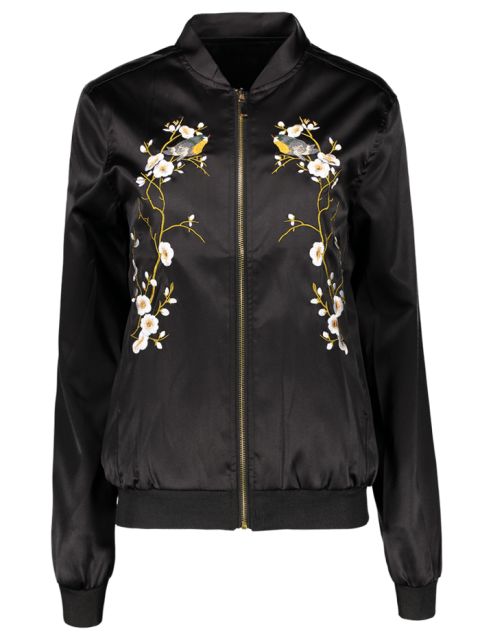 outfit Embroidered Baseball Jacket - BLACK S Mobile