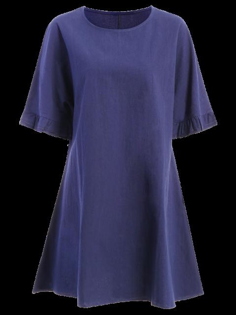 online Bell Sleeve A-Line Ruffle Dress - PURPLISH BLUE 2XL Mobile