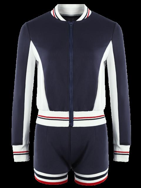 best Active Shorts and Baseball Jacket Set - NAVY BLUE M Mobile