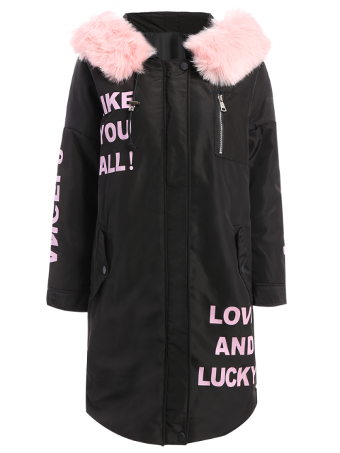 fancy Hooded Letter Padded Coat - BLACK M Mobile