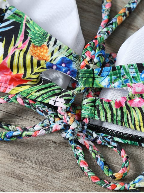 fancy Palm Leaf Floral Braided Bikini - MULTICOLOR S Mobile