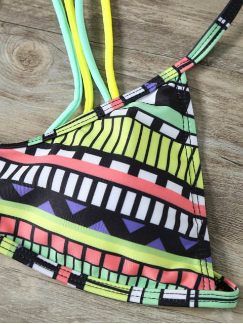 shops Strappy Tribal Print Bikini - MULTICOLOR L Mobile