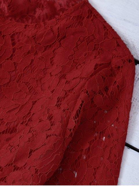 women Rhinestoned Scalloped Lace Dress - RED XL Mobile