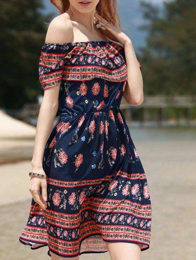 Retro Floral Print Sleeveless Off The Shoulder Dress - Purplish Blue