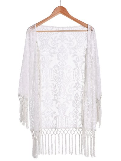 Tassels Spliced Lace White Sunscreen Blouse - White