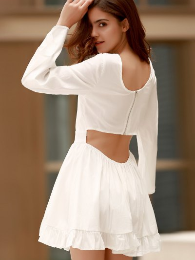 Ruffle Hem Cutout Long Sleeve Romper - WHITE ONE SIZE(FIT SIZE XS TO M) Mobile