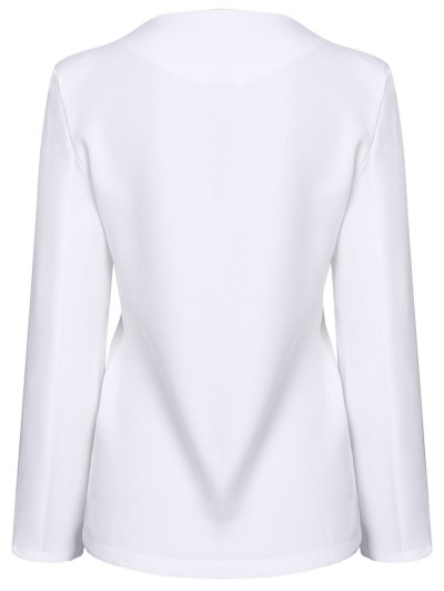 Notched Solid Color Long Sleeve Blazer - WHITE S Mobile