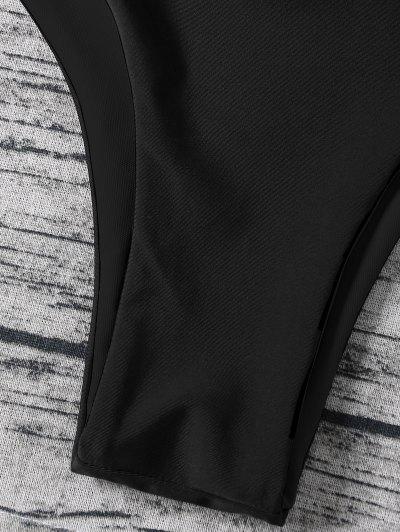 Strappy Halter Wrap Bikini Set - BLACK XL Mobile
