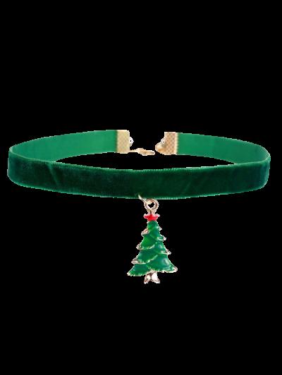 Christmas Tree Velvet Choker - Green