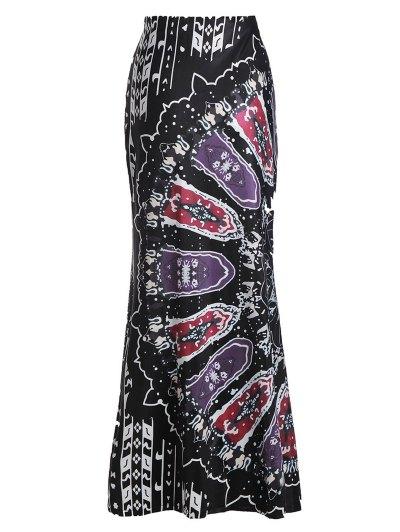 Mermaid Printed Maix Skirt - Black