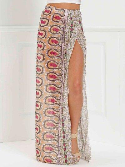 High Slit Printed Long Skirt - Pink M