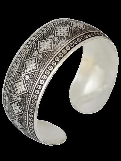 Rhombus Floral Etching Cuff Bracelet